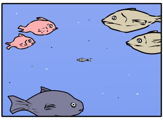 【4コマ漫画】ずっと体が小さい一匹の魚